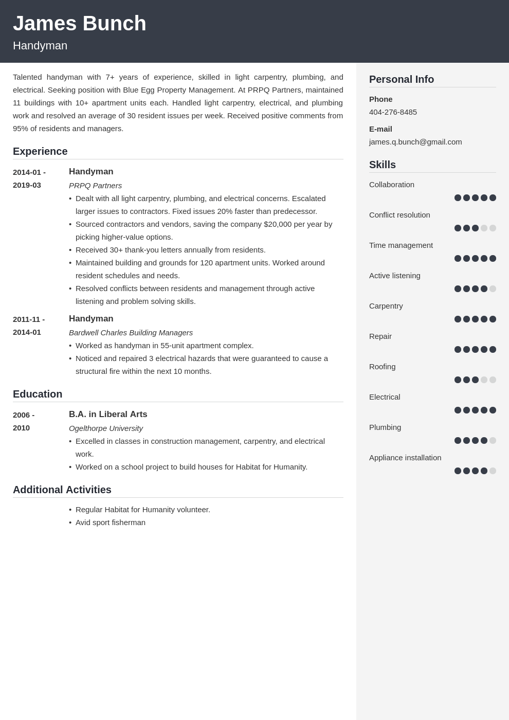 handyman resume example template cubic