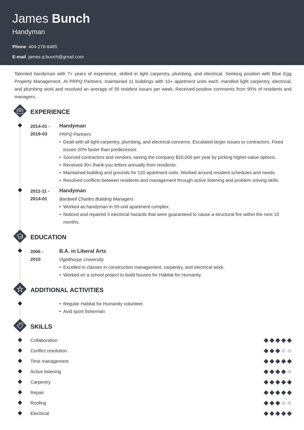 handyman resume example template diamond