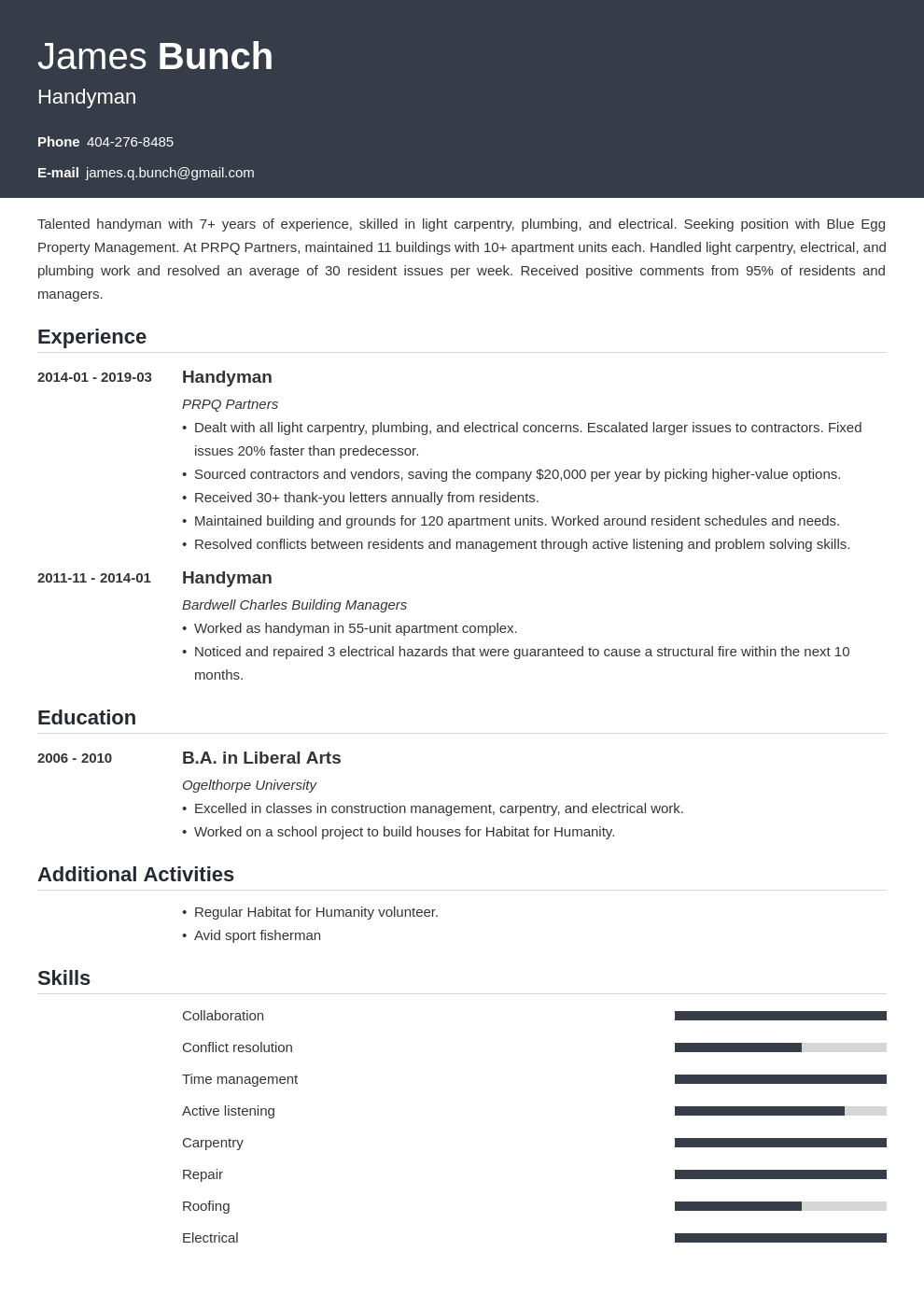 handyman resume example template influx