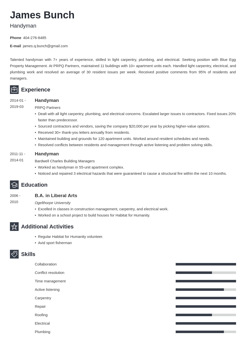 handyman resume example template newcast
