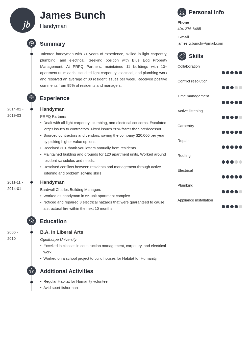handyman resume example template primo