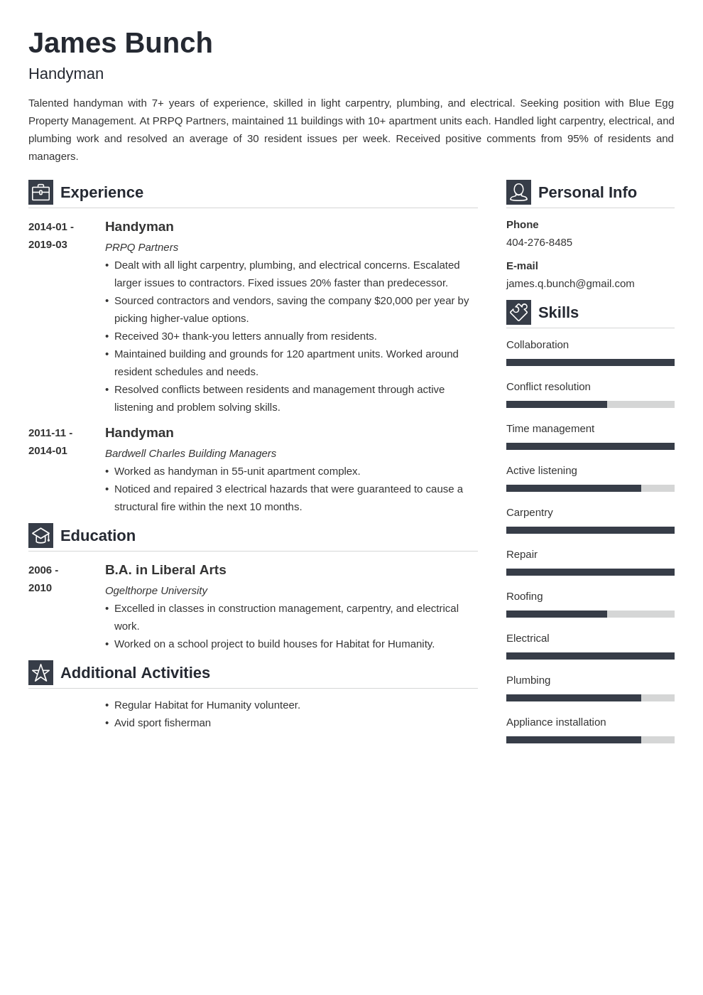 handyman resume example template vibes