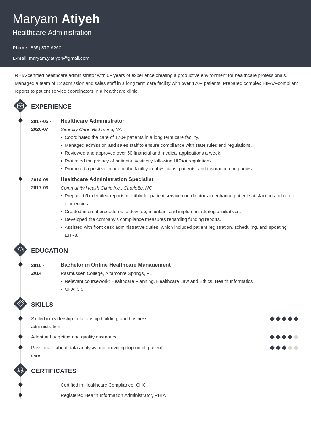 healthcare administration resume samples and writing guide