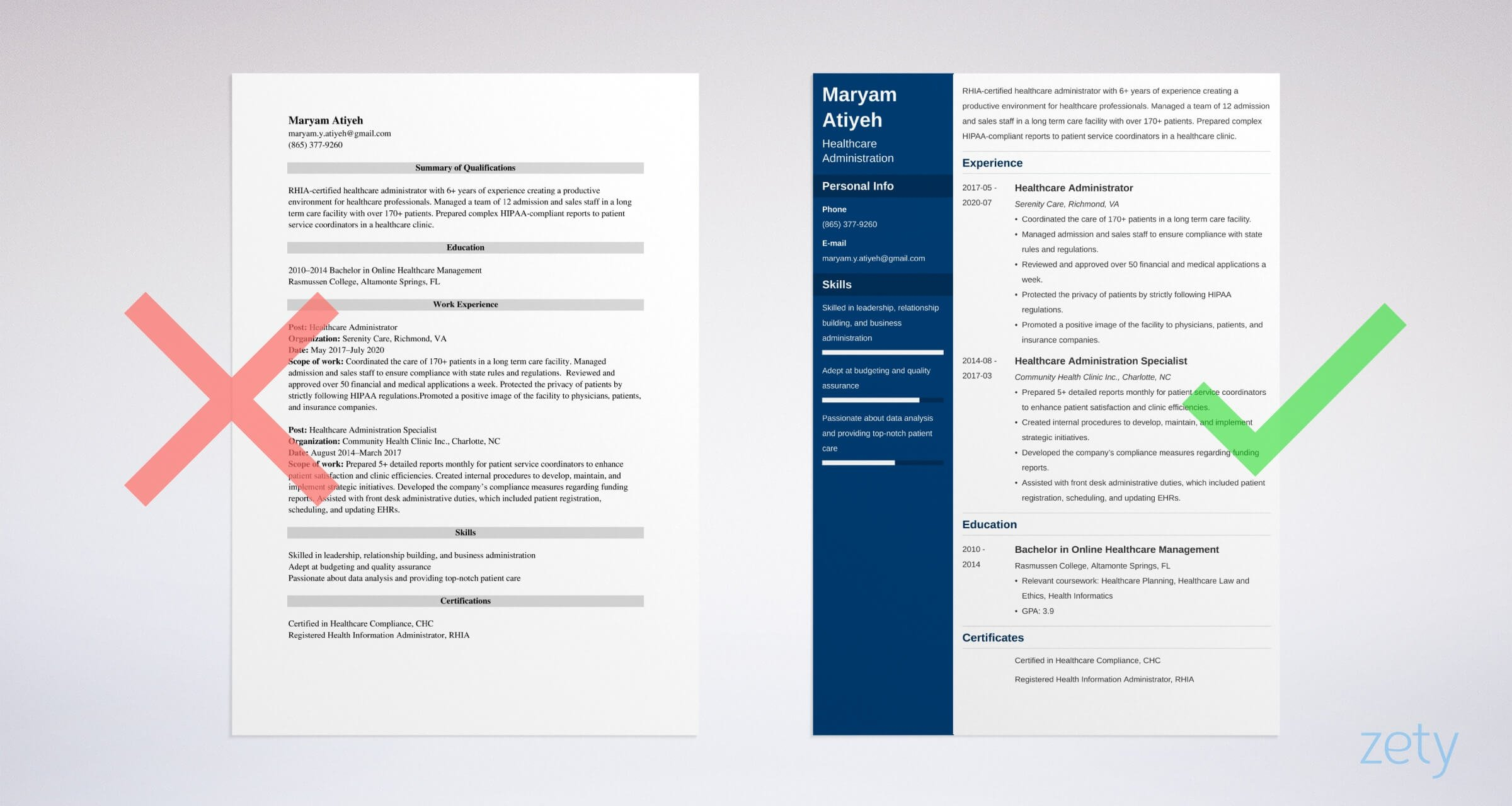 helathcare administration resume templates