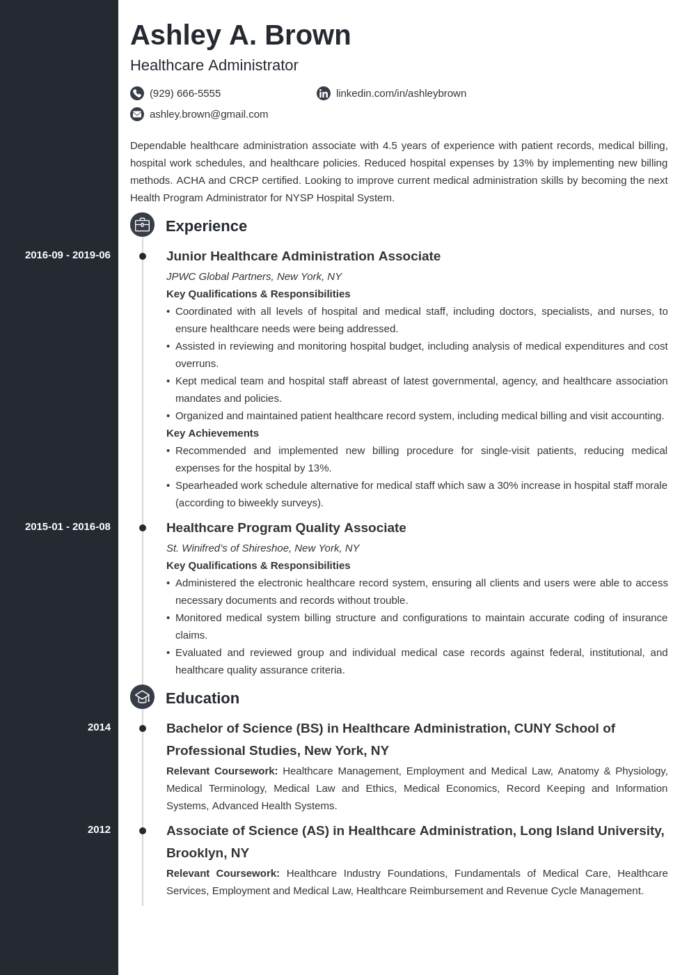 healthcare resume example template concept