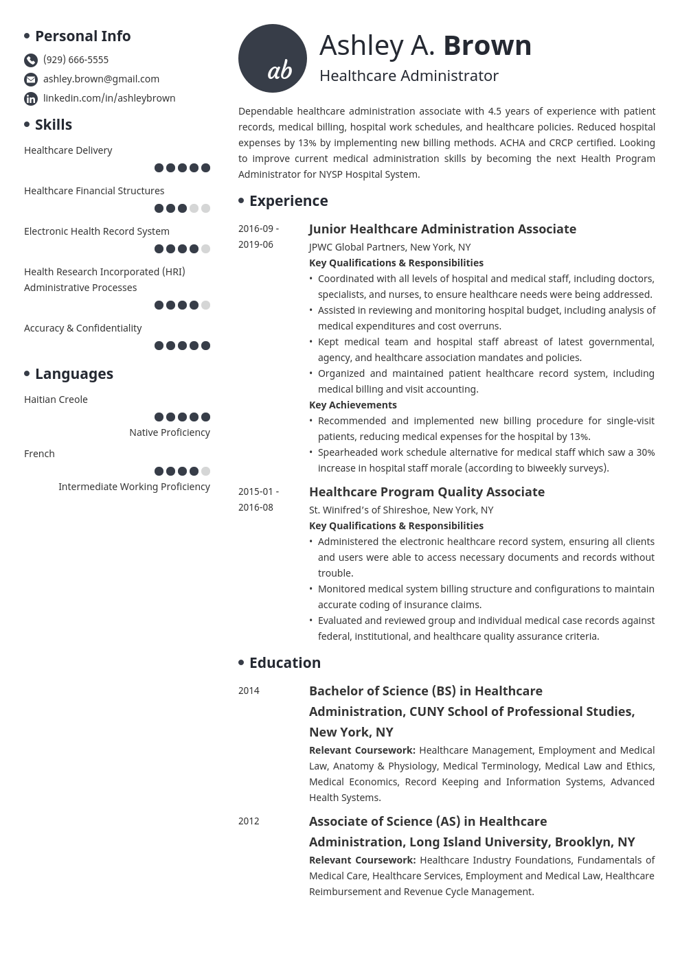 healthcare resume example template initials