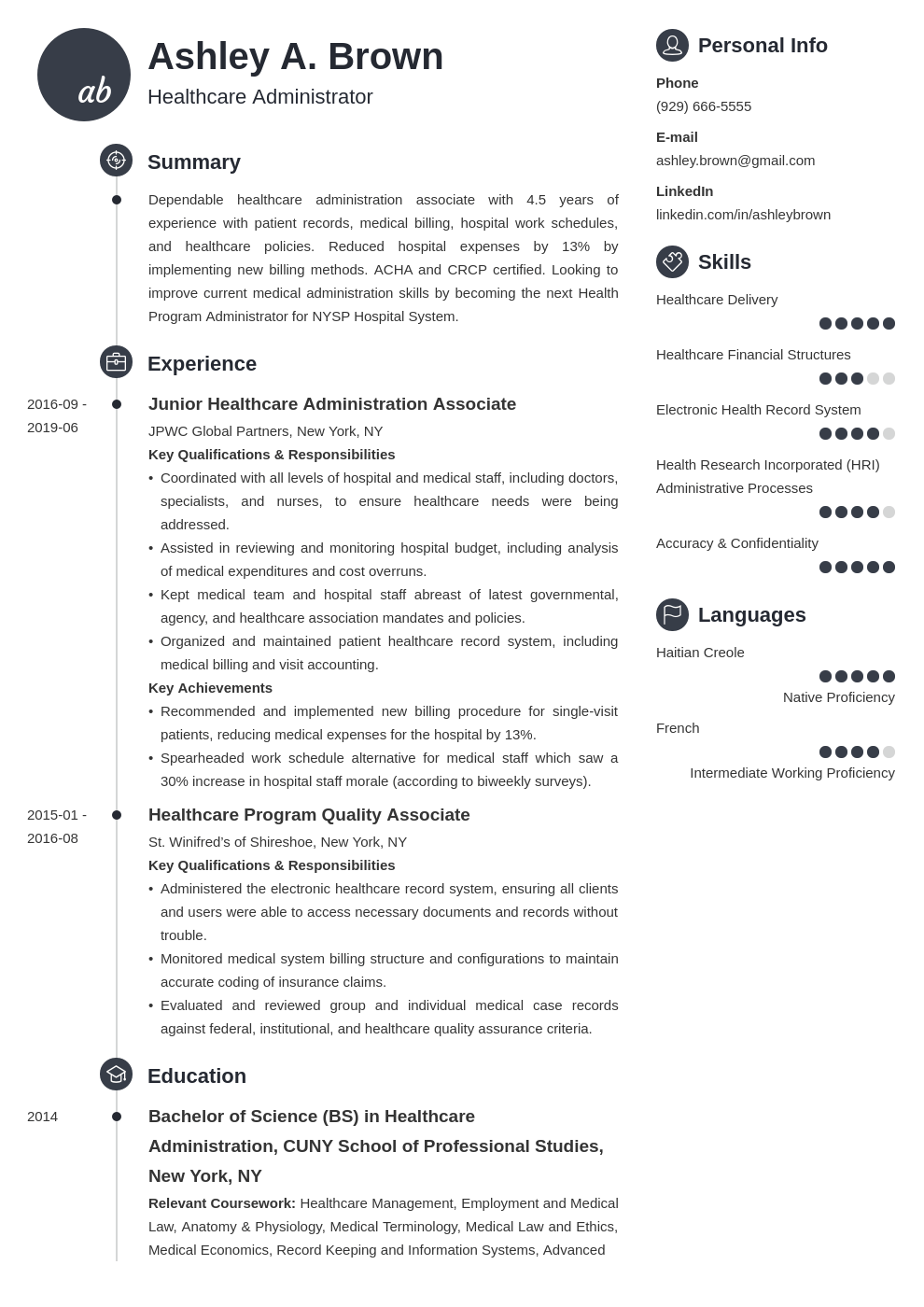 healthcare resume example template primo