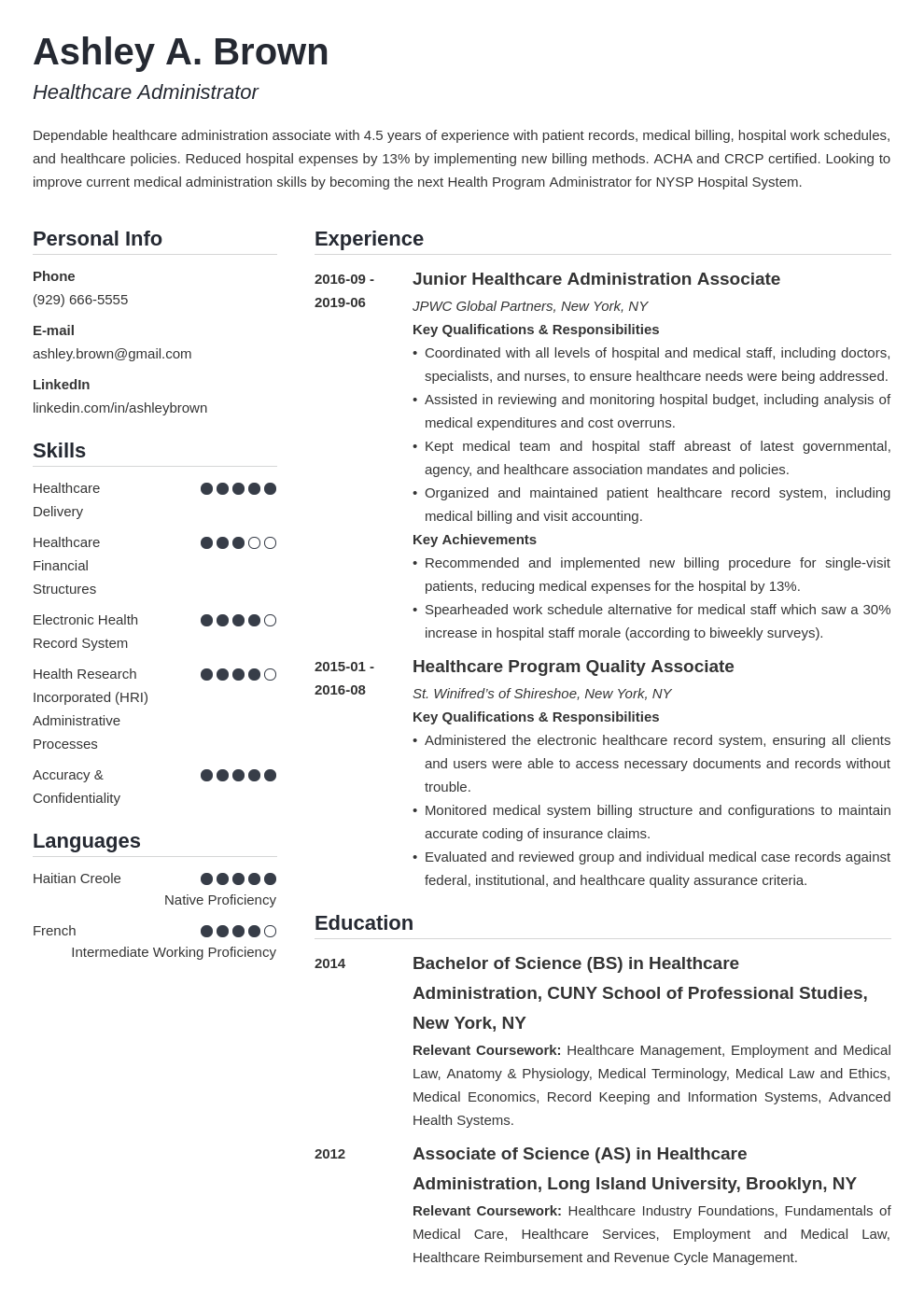 healthcare resume example template simple