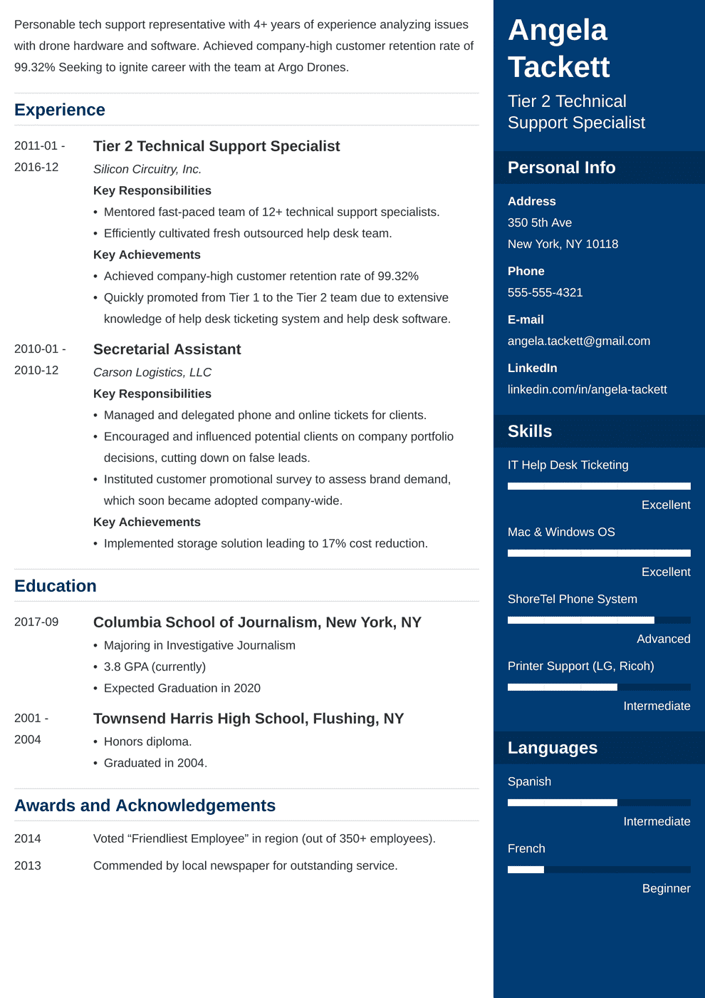 resume for it help desk support