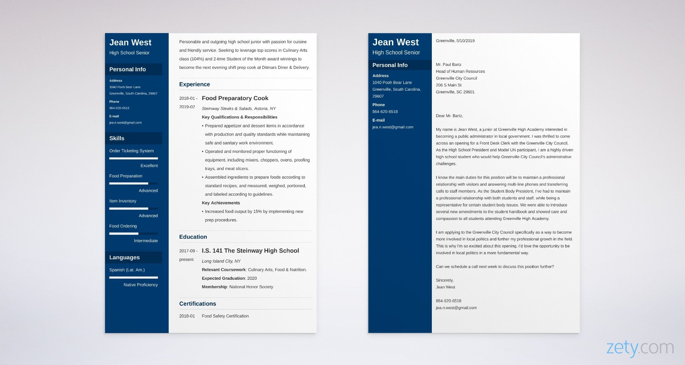 high school resume and cover letter set