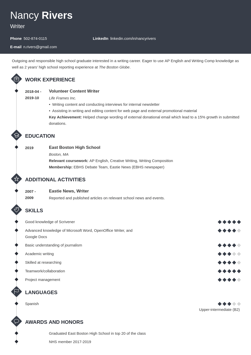high school graduate resume example template diamond