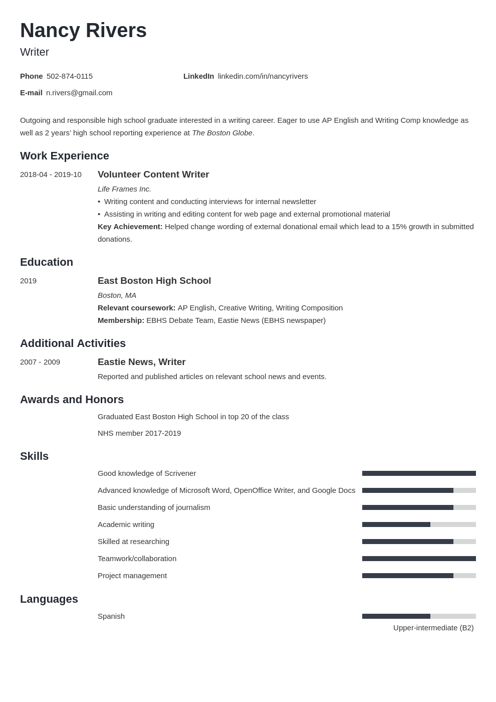 high school graduate resume example template minimo