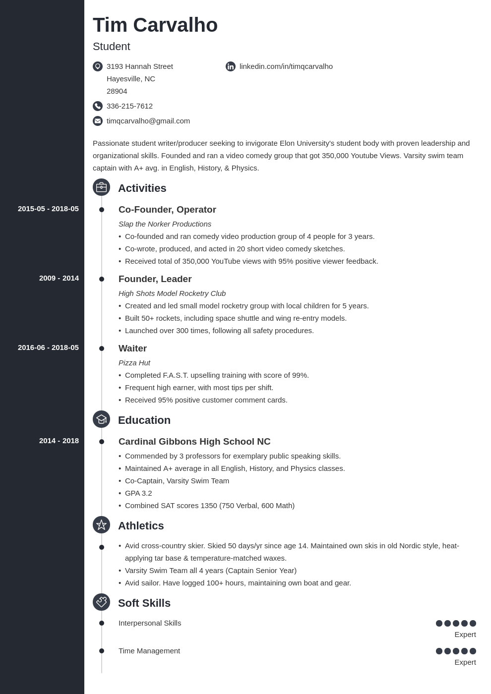 high school resume for college application template concept