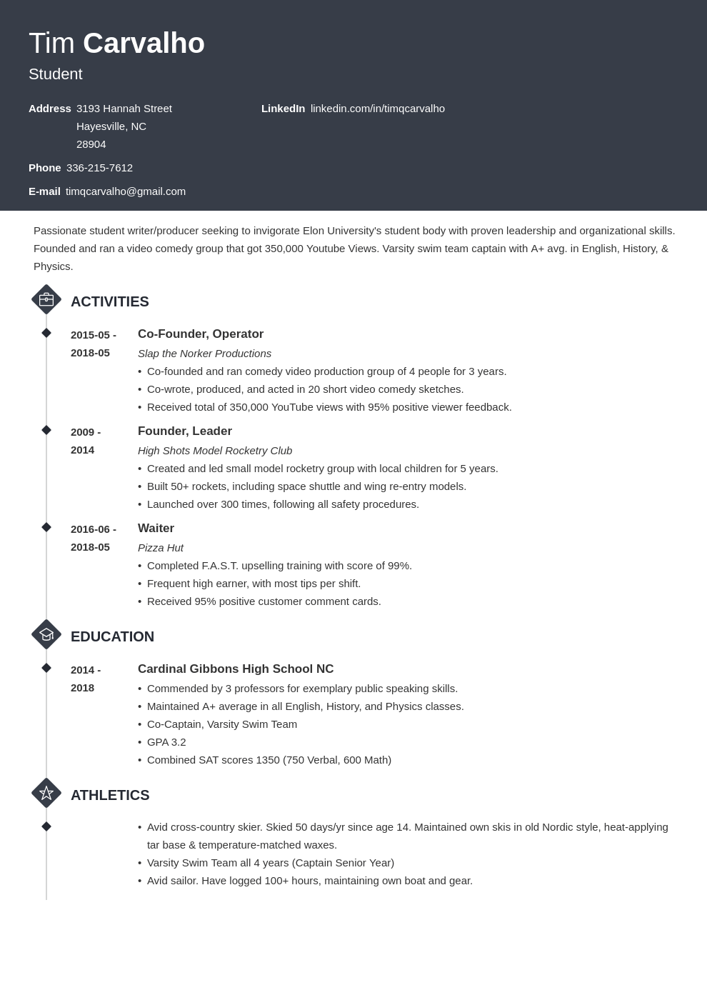 College Resume Template for High School Students (2021)