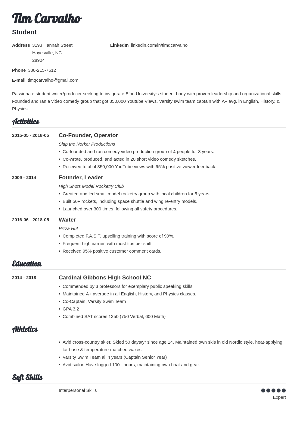 sample resume for high school students entering college
