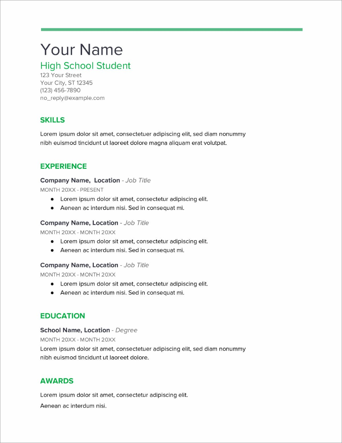 20 High School Resume Templates Download Now