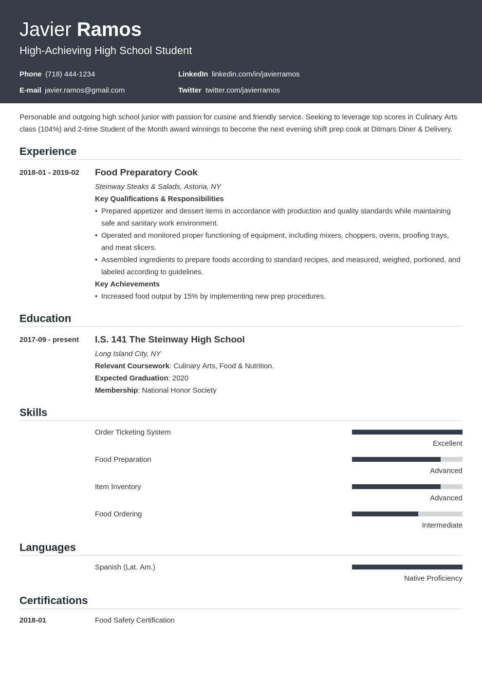 high school student resume example template influx