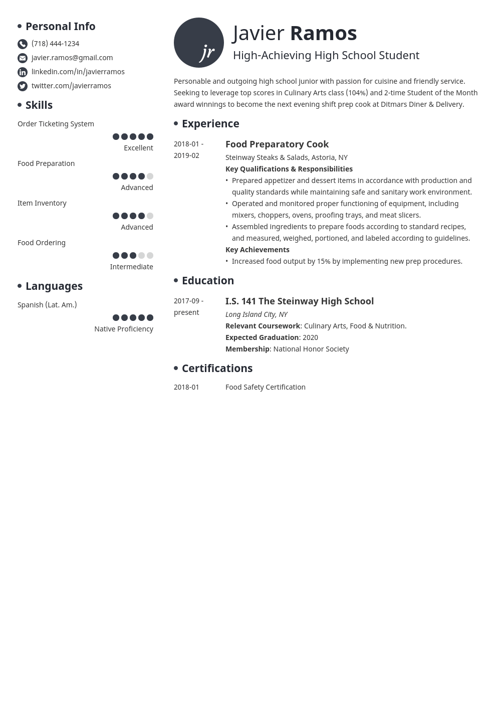high school student resume example template initials