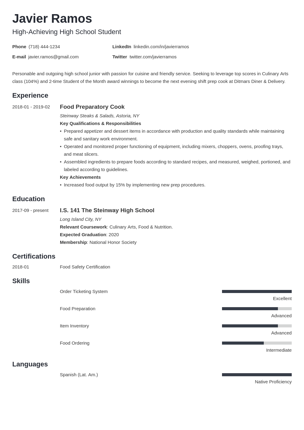 high school student resume example template minimo
