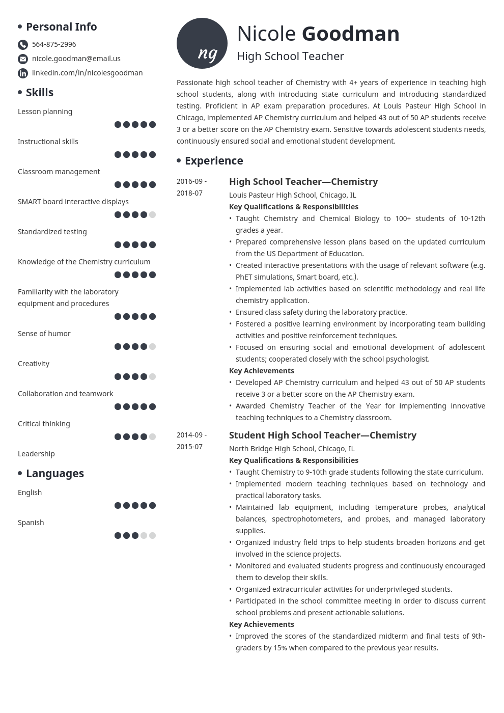 high school teacher resume example template initials