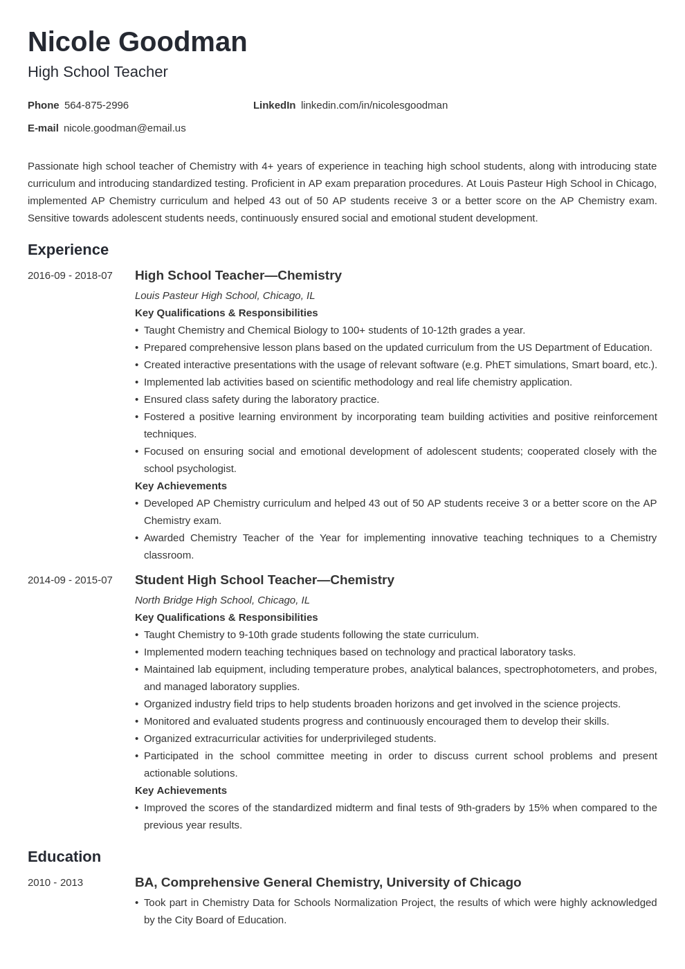 high school teacher resume example template minimo