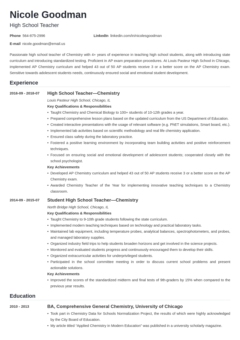 high school teacher resume example template nanica