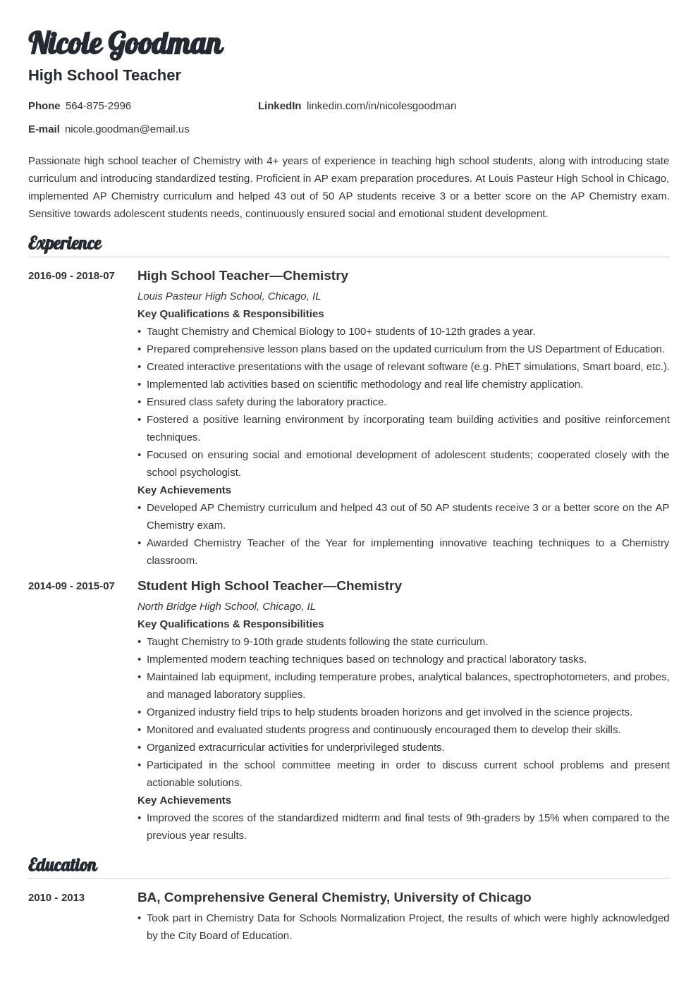 high school teacher resume example template valera