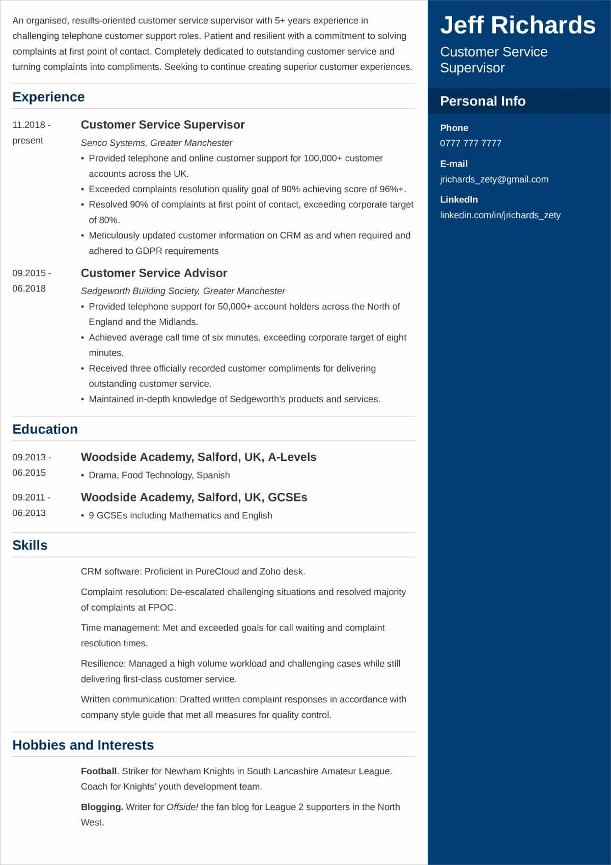 interests and hobbies for resume examples