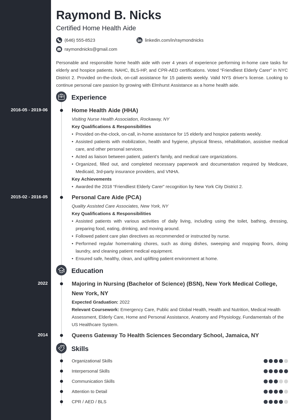 home health aide resume example template concept