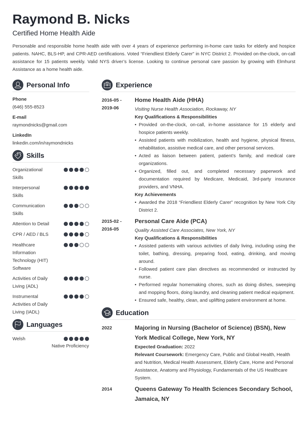home health aide resume example template crisp