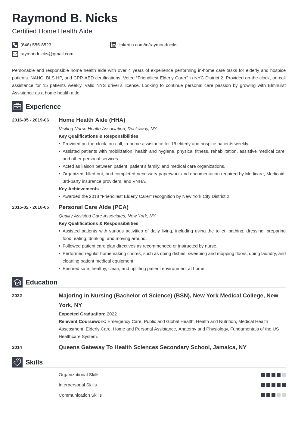 home health aide resume example template iconic