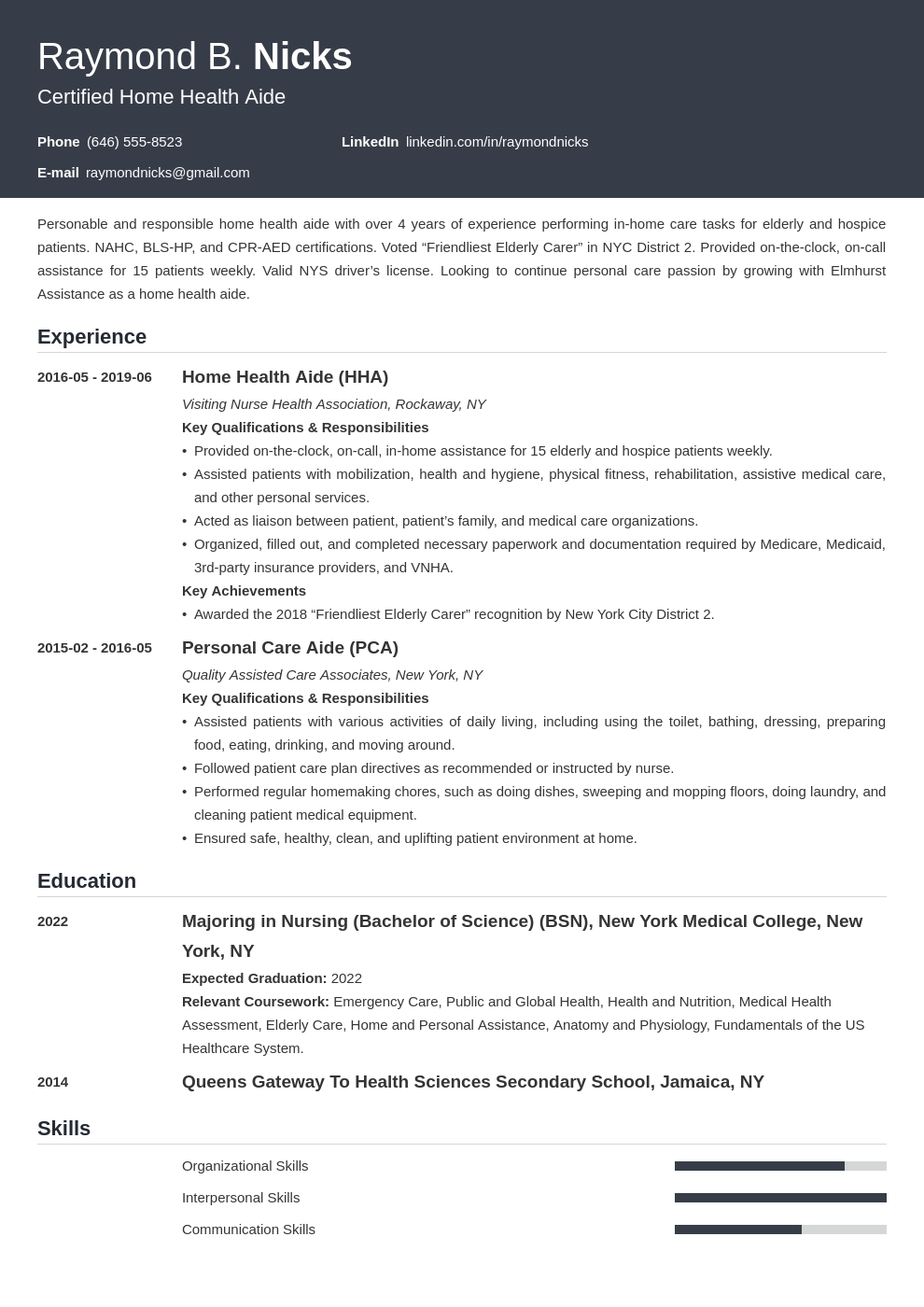 home health aide resume example template influx
