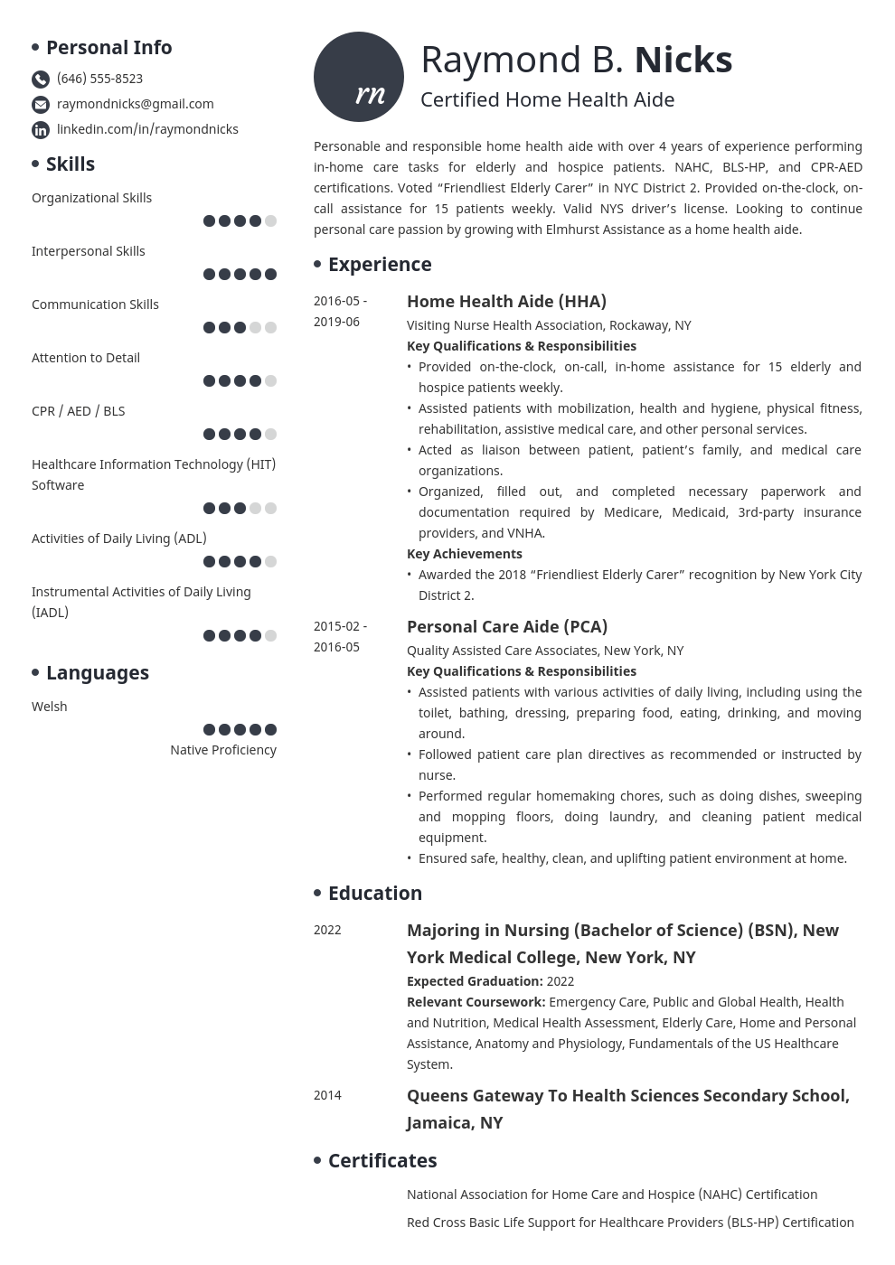 home health aide resume example template initials