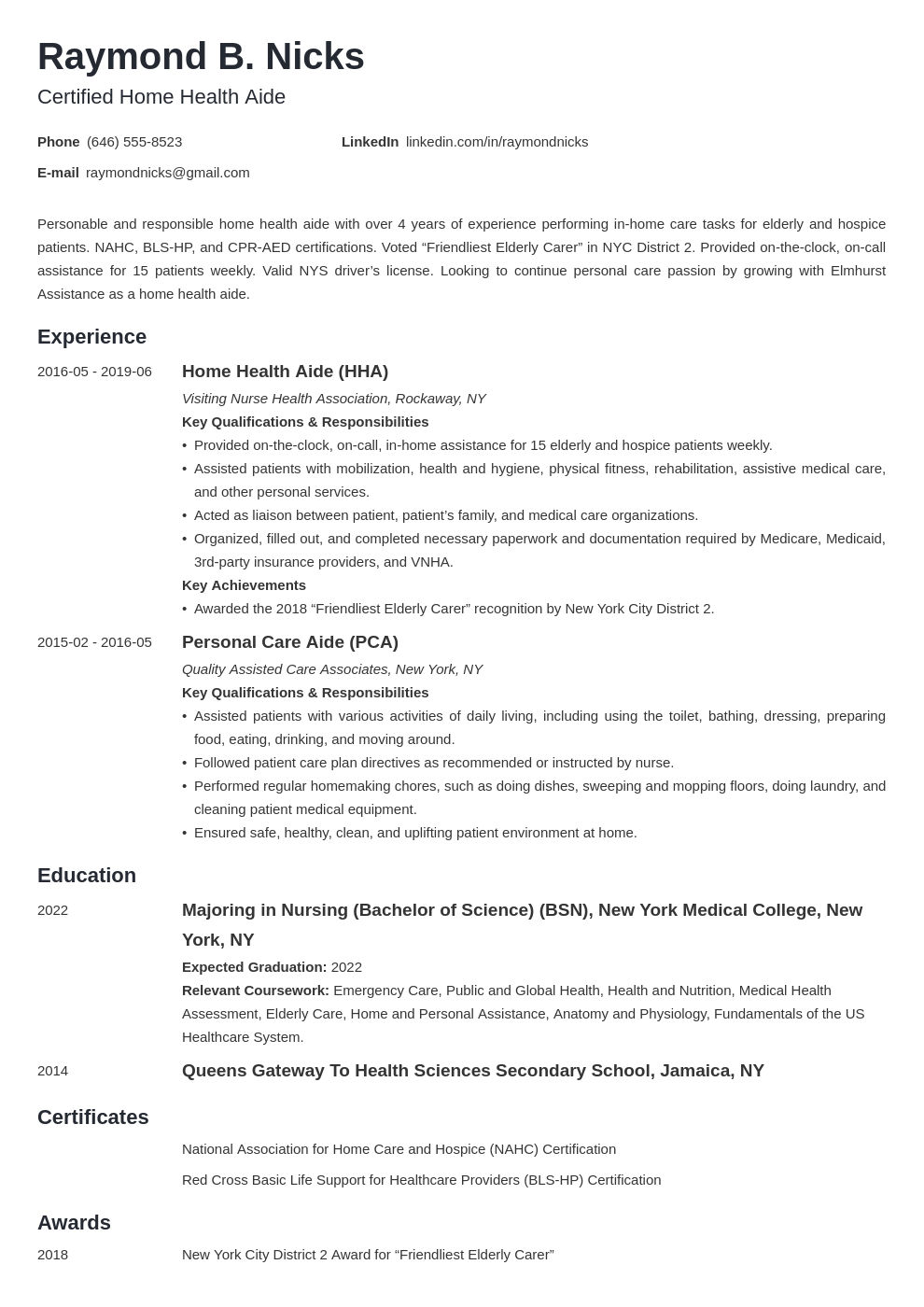 home health aide resume example template minimo