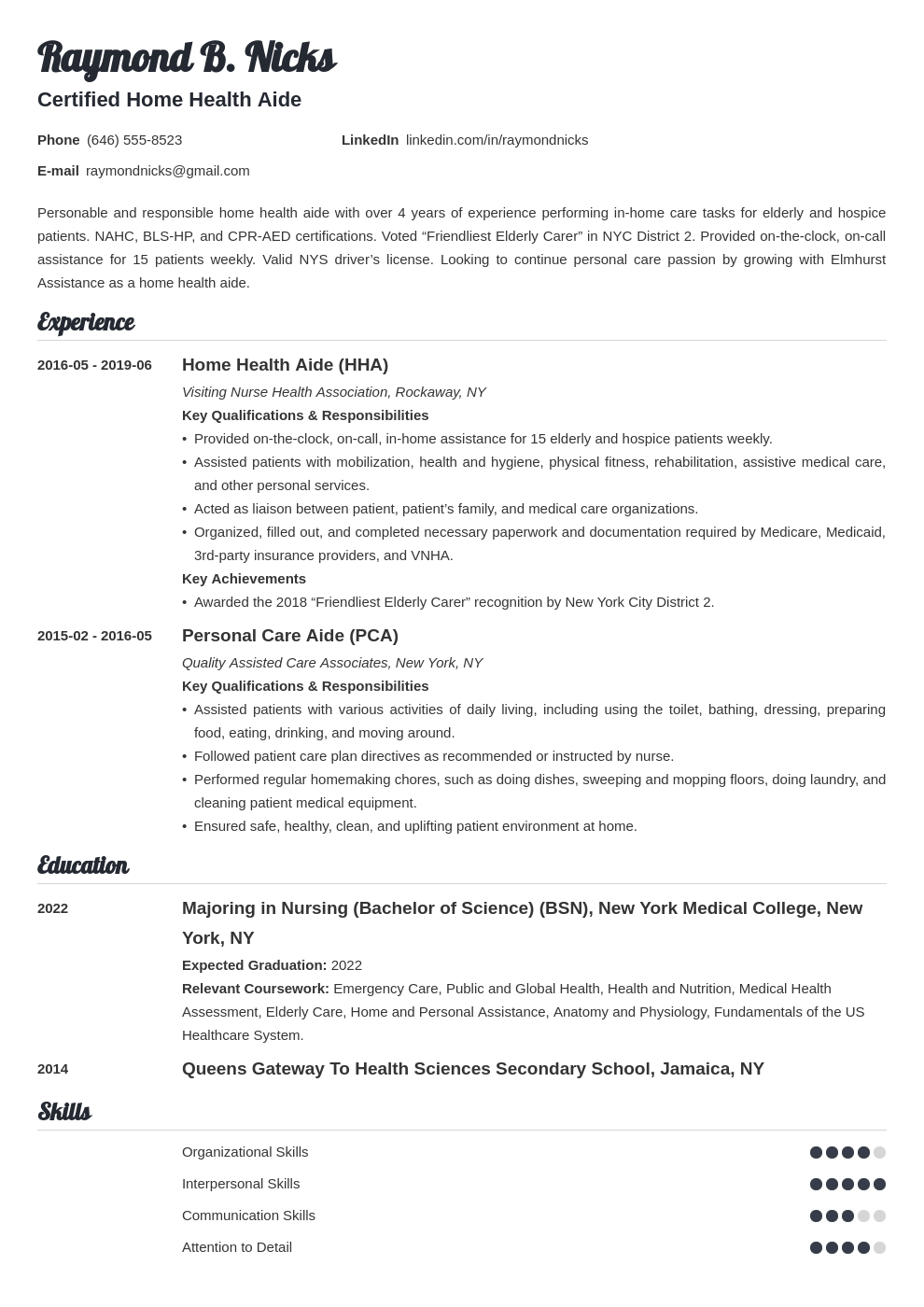 Home Health Aide Resume Sample Job Description For Hha