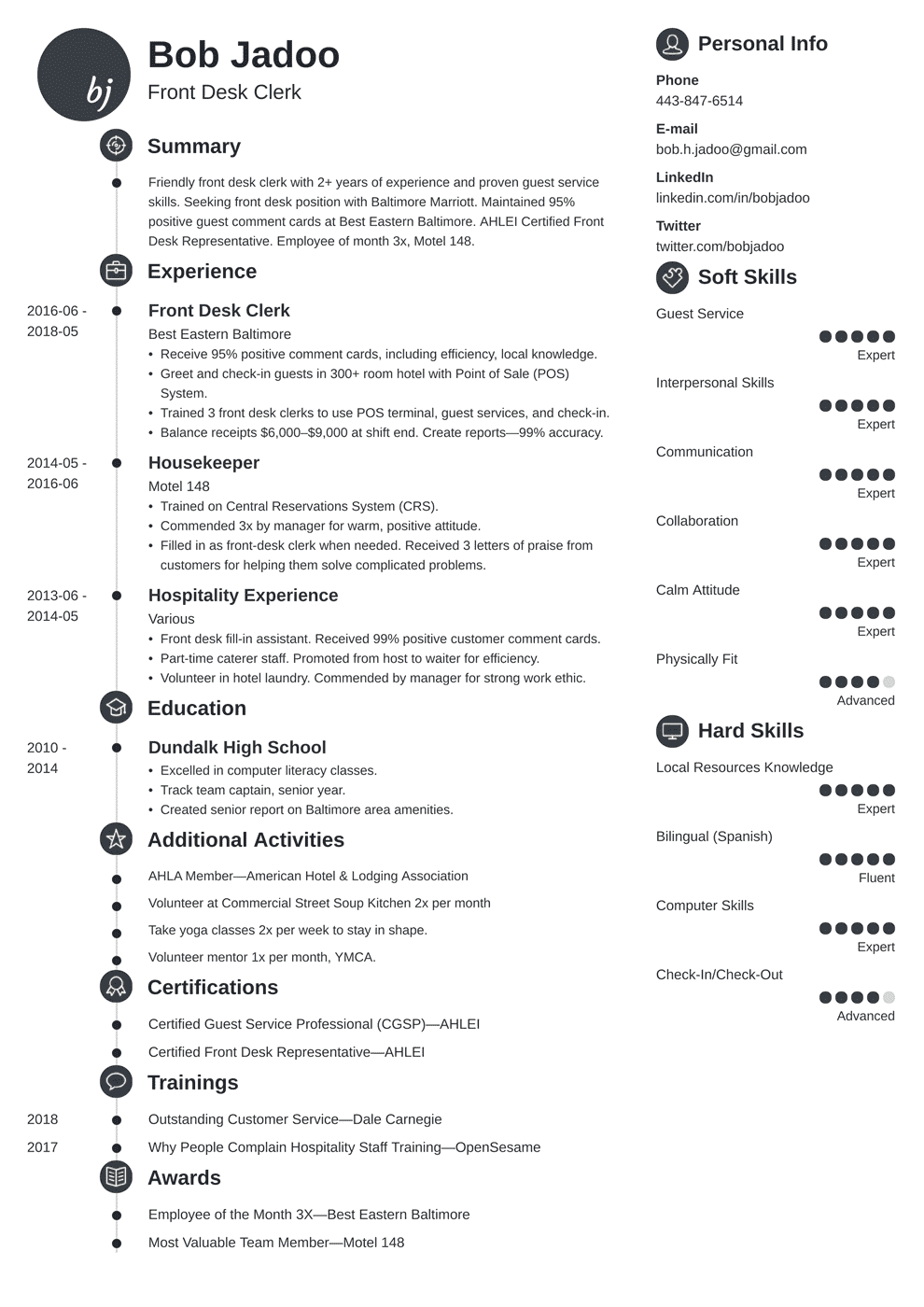 Hospitality Resume Sample And Full Writing Guide 20 Examples