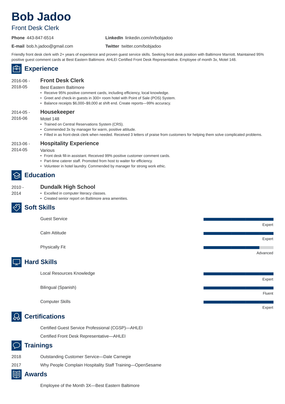 Hospitality Resume: Sample and Full Writing Guide [20+ Examples]
