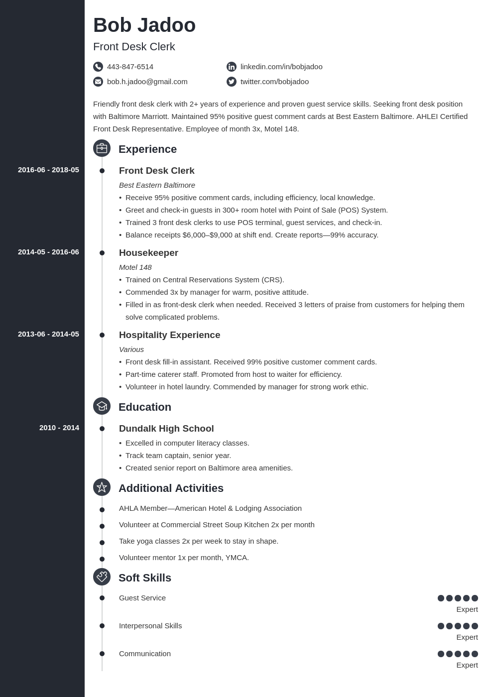 hospitality resume example template concept
