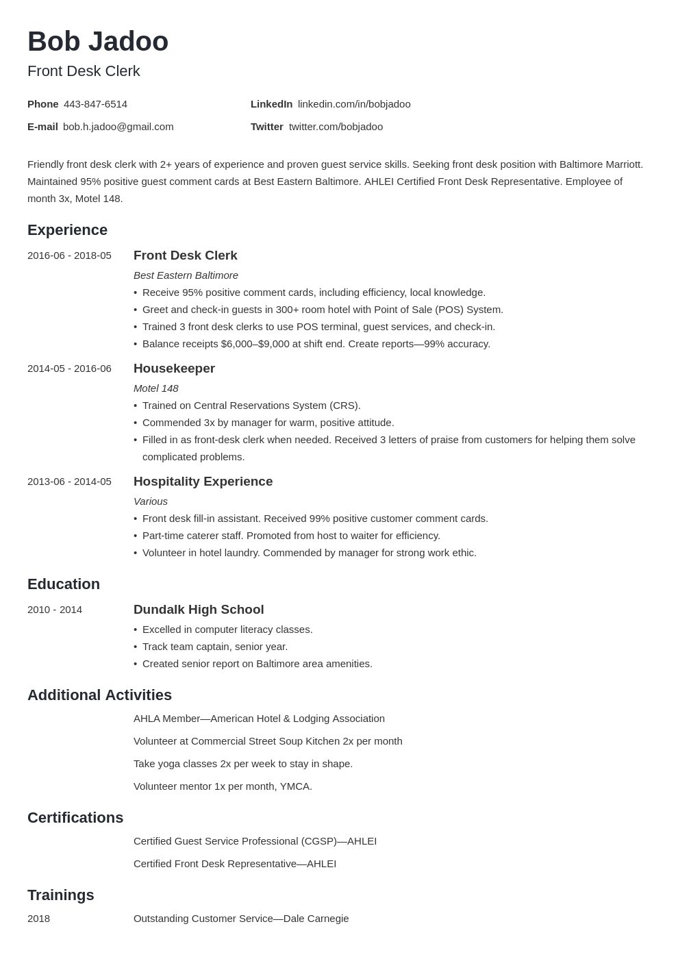 hospitality resume example template minimo