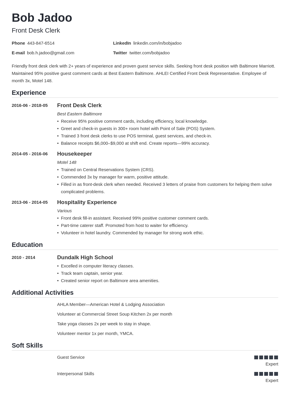 hospitality resume example template nanica