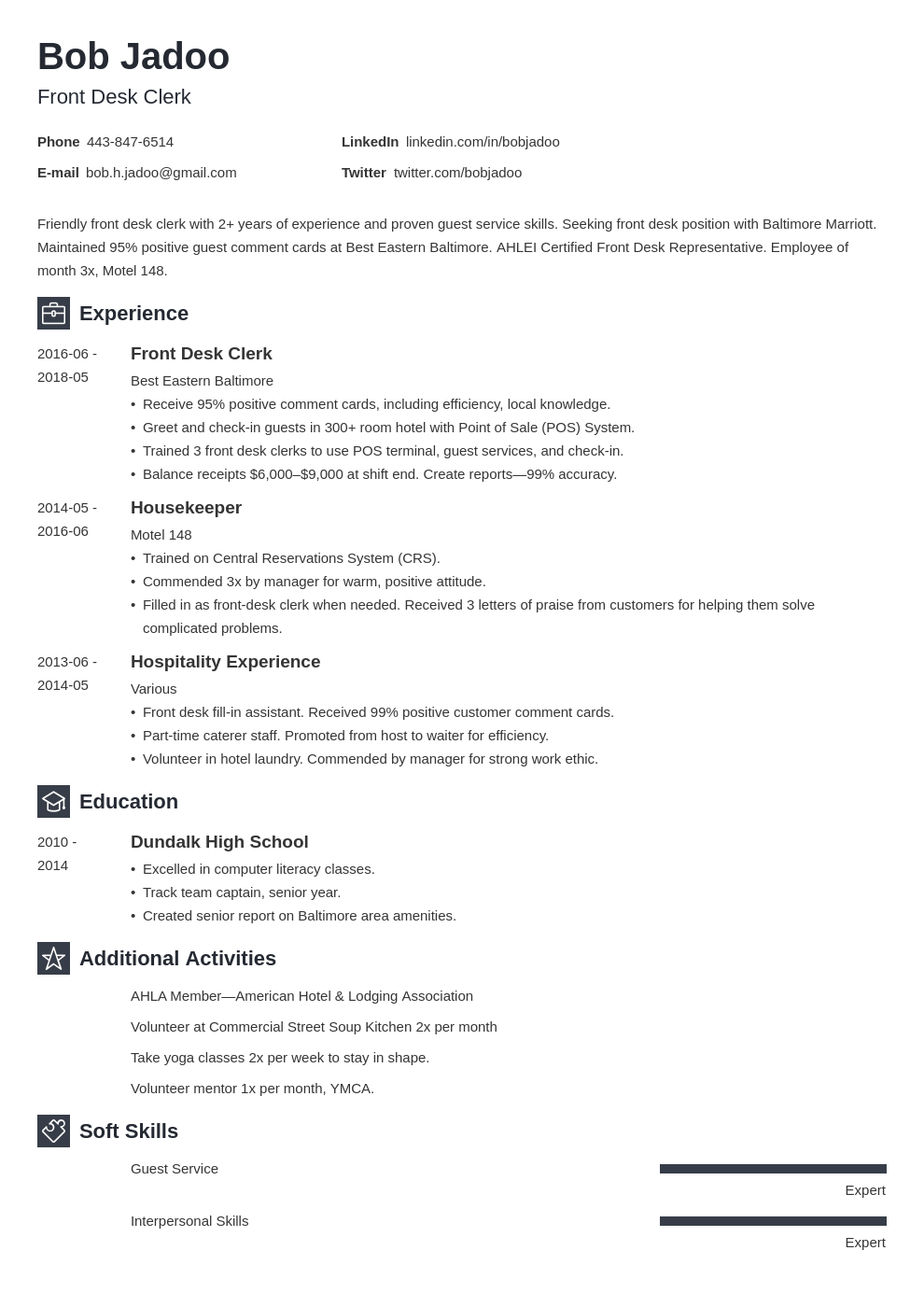 hospitality resume example template newcast