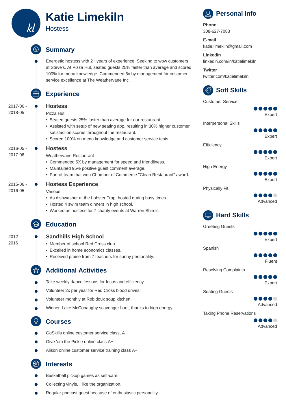 Hostess Resume Samples And Complete Writing Guide 20 Examples