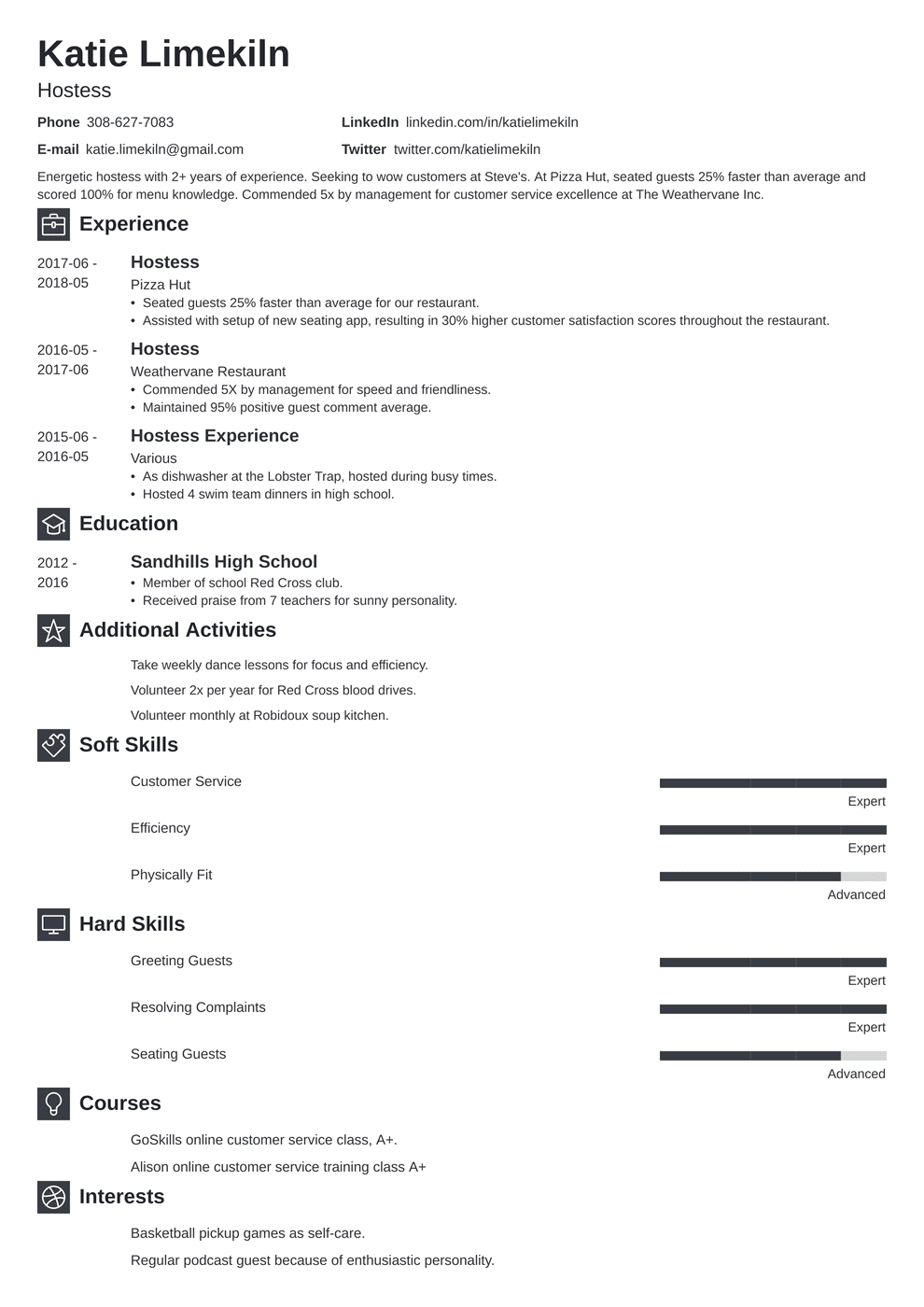 Hostess Resume: Samples and Complete Writing Guide [20+ ...