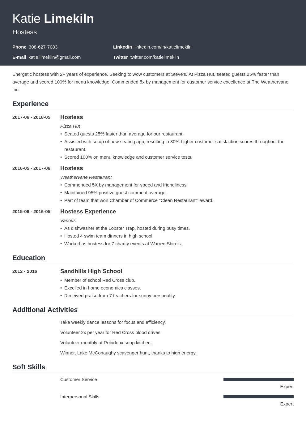 hostess resume example template influx