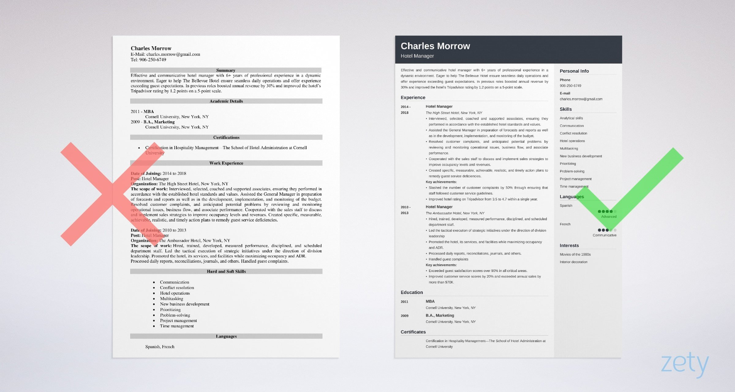hotel manager resume templates