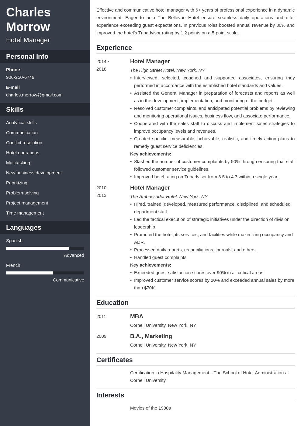 hotel manager resume example template cascade