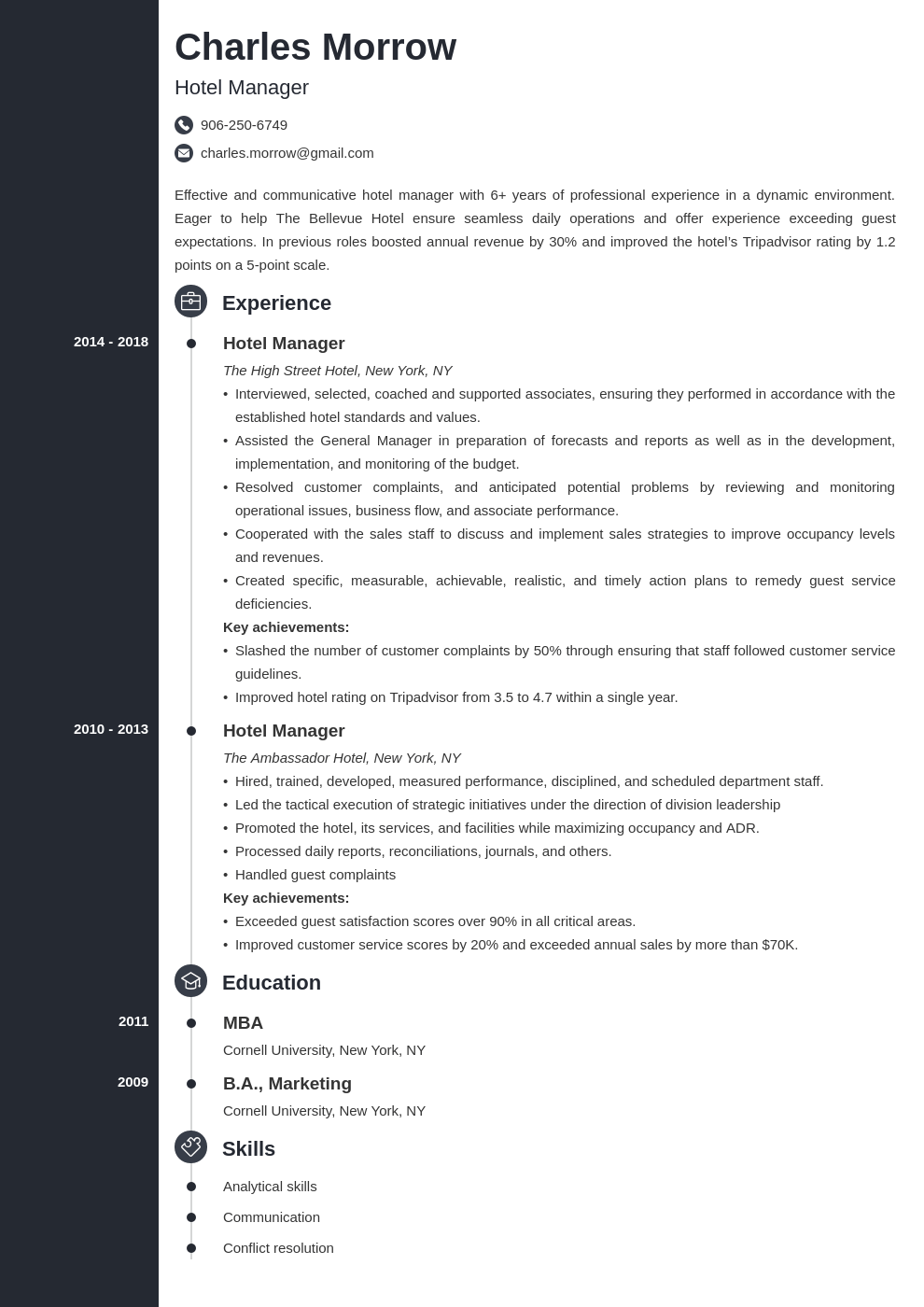 hotel manager resume example template concept
