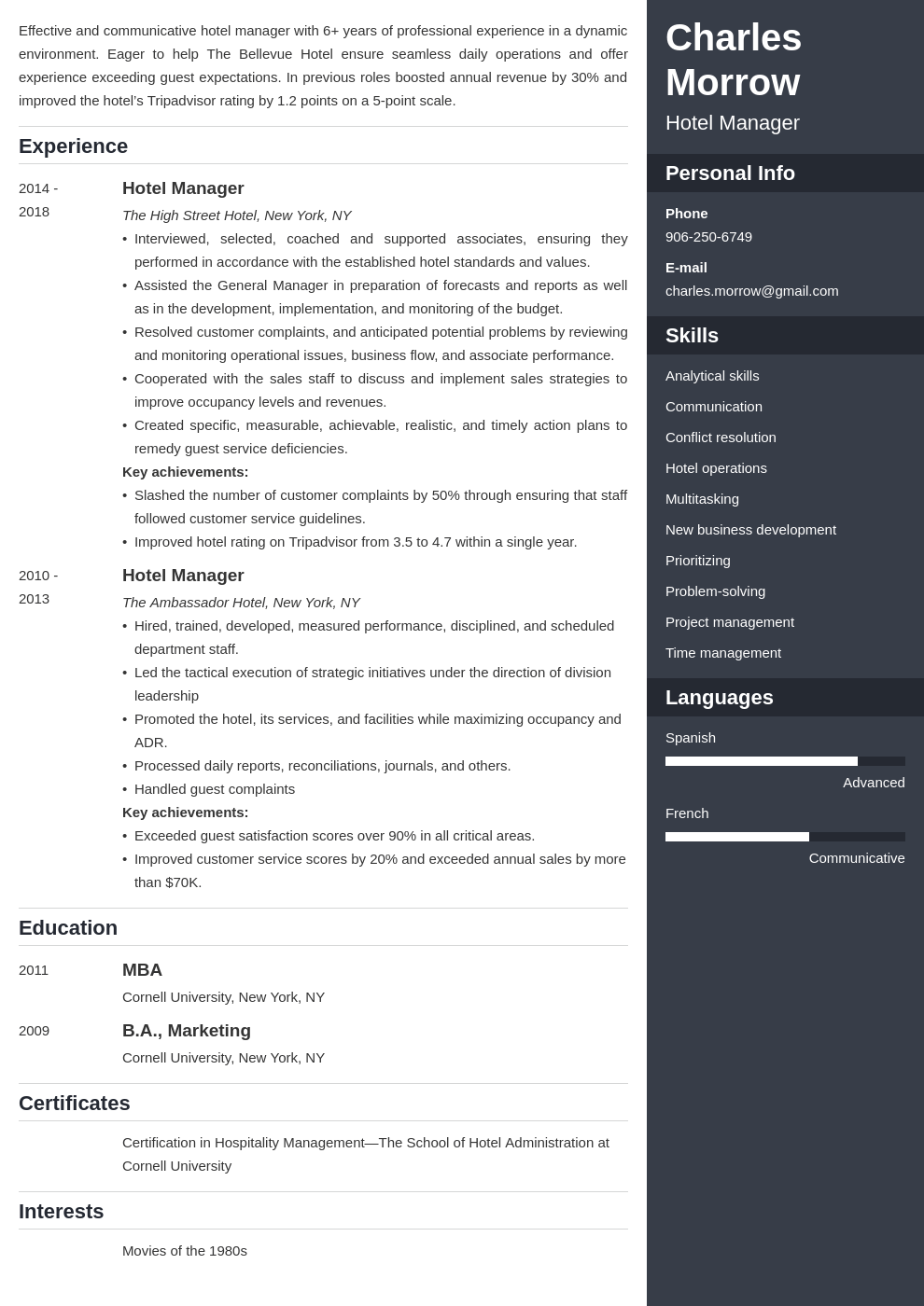 hotel manager resume example template enfold