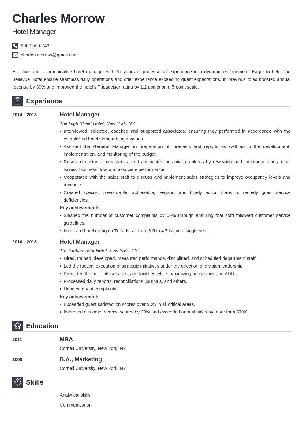 hotel manager resume example template iconic