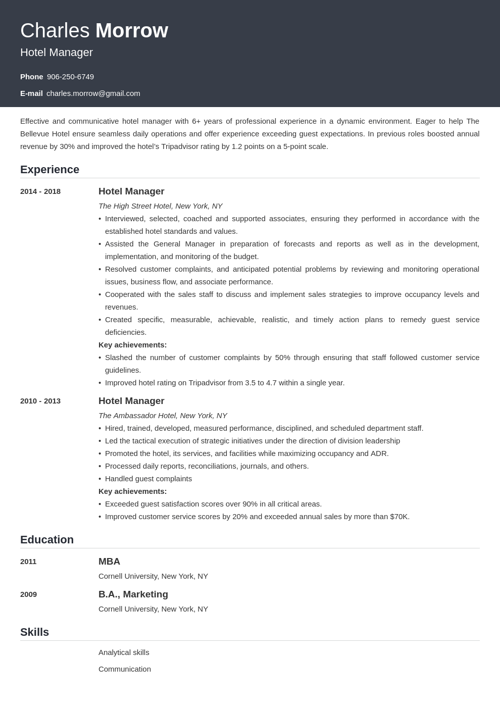 hotel manager resume example template influx
